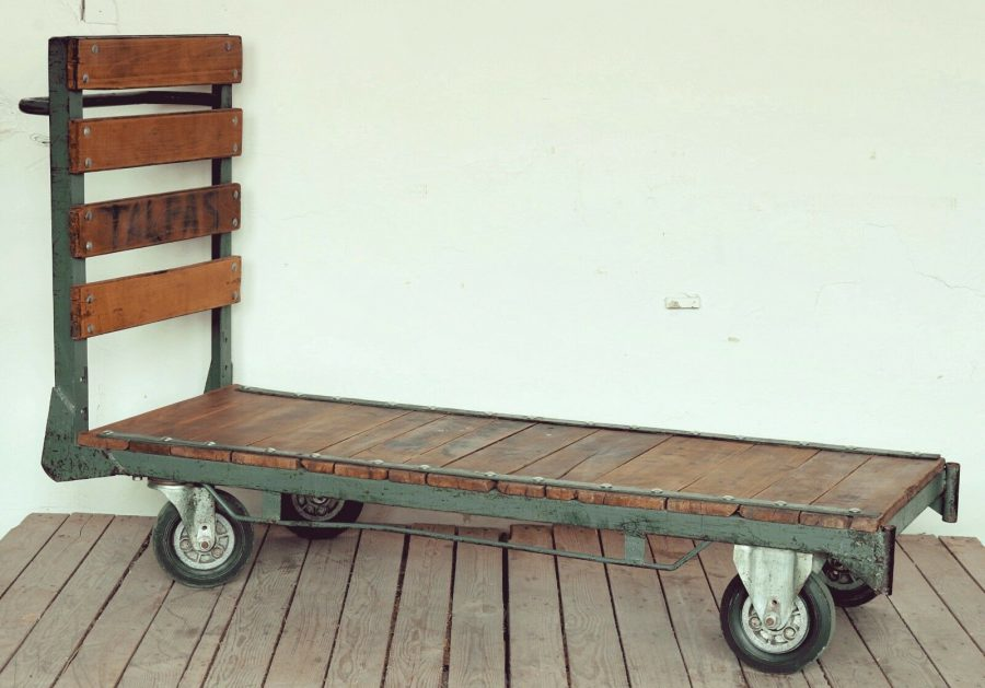 Salvaged Oak Iron Trolley